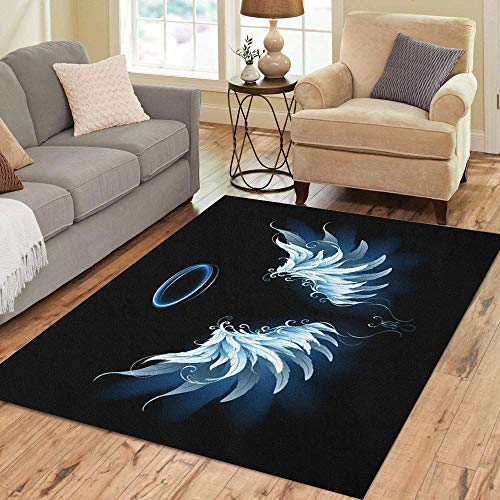 - Semtomn Area Rug 2' X 3' Feathers Light Artistic Blue Angel Wings on Angelic Author Home Decor Collection Floor Rugs Carpet for Living Room Bedroom Dining Room