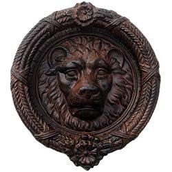 Lions Head Door Knocker Cast Iron Rustic Antique Brown