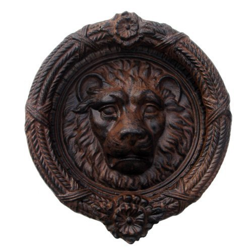 Plate Door Knocker (Lions Head Door Knocker Cast Iron Rustic Antique Brown)