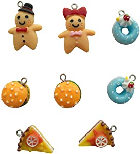 AMOBESTER Delicious Food Pendant Charms Cookie Gingerbread Man Hamburgers Doughnuts Pizza for Best Friend Crafting Jewelry Making