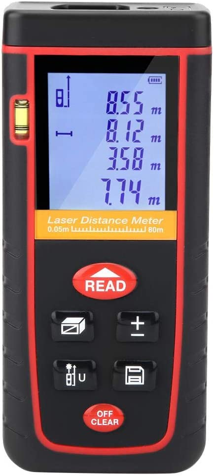 Akozon - Telémetro láser digital (80 m, distancia por metro, láser, 30 datos, con pantalla LCD automática, para la construcción industrial de la construcción (0,05~80 m)