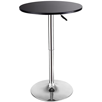 Beau COSTWAY Modern Round Bar Table Adjustable Bistro Pub Counter Wood Top  Swivel Indoor (1)