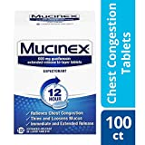 Chest Congestion, Mucinex 12 Hour Extended Release Tablets, 100ct, 600 mg Guaifenesin with extended relief of chest congestion caused by excess mucus, thins and loosens mucus