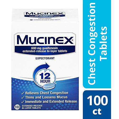 - Chest Congestion, Mucinex 12 Hour Extended Release Tablets, 100ct, 600 mg Guaifenesin with extended relief of  chest congestion caused by excess mucus, thins and loosens mucus