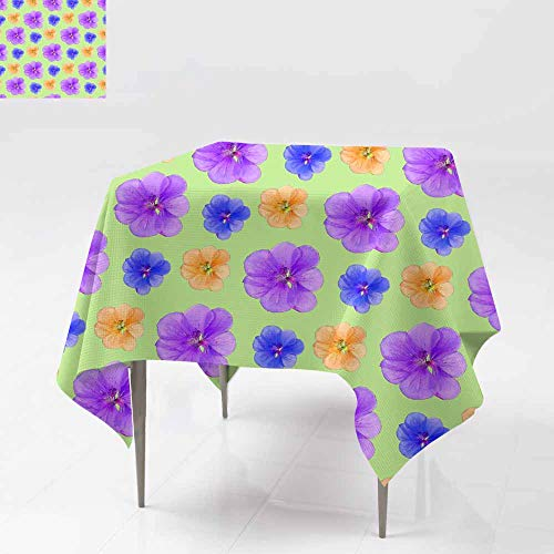 Custom Tablecloth,Geranium Pelargonium Seamless Pattern Texture of Flowers Floral Background Photo collage2 Table Cover for Kitchen Dinning Tabletop Decoratio 36x36 ()