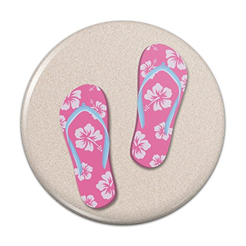 Pink Flip Flops on Sand with Hibiscus Flowers Sandals Beach Compact Pocket Purse Hand Cosmetic Makeup Mirror - 2.25