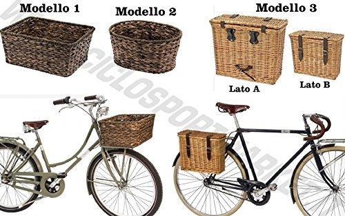 Cesta Cesta DE MIMBRE + PLACA INCLUIDO - Anterior / Trasero - Fijación bandeja trasera / soporte de la canasta bicicleta City Bike - Clásico - Vintage - época Hombre / Mujer CicloSportMarket