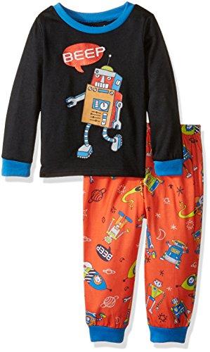 Peas & Carrots Boys' Toddler' Long Sleeve Jersey Pajama Set, Robot, 3T ()