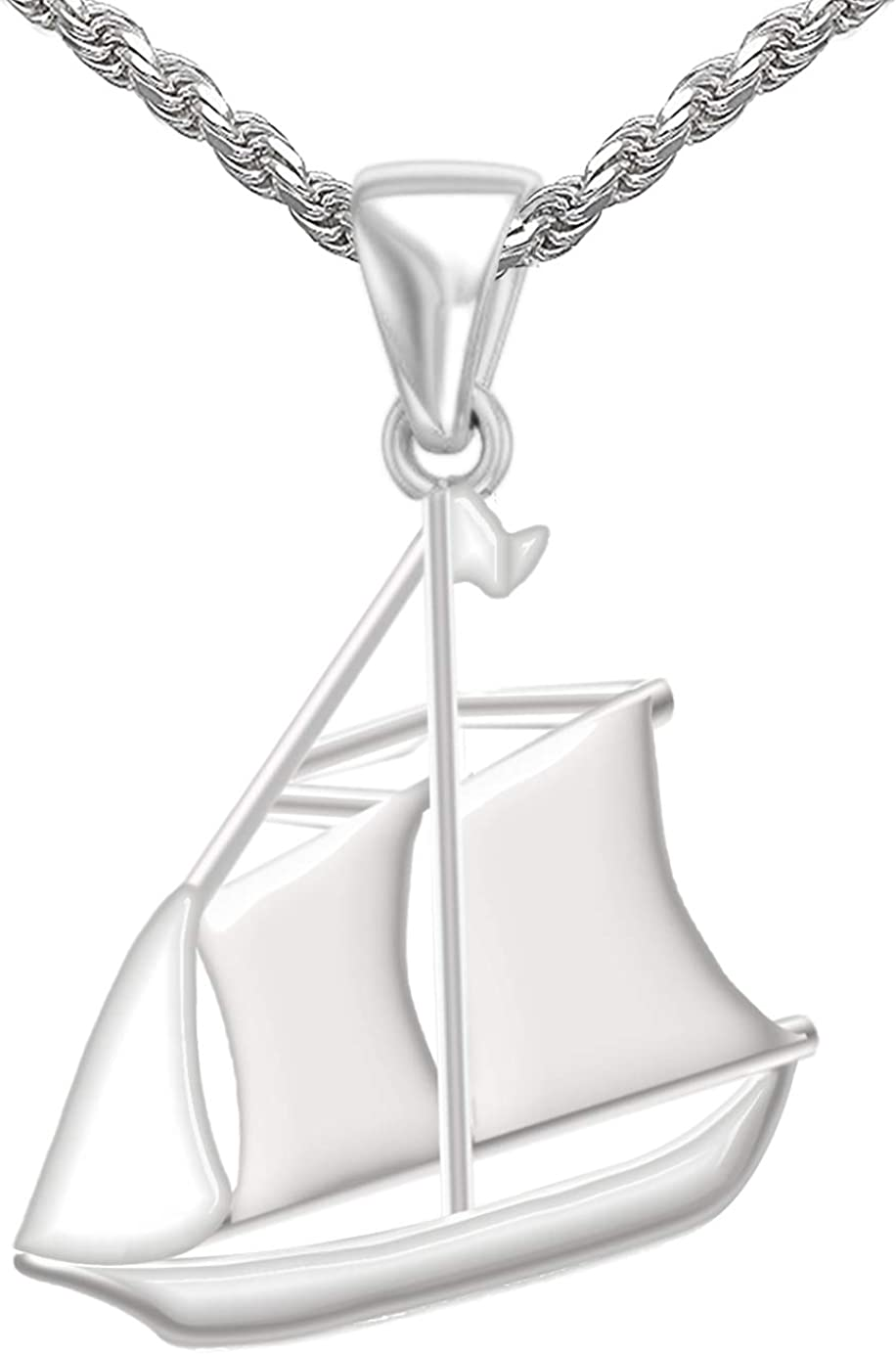 US Jewels And Gems Mens 1 1//8in 0.925 Sterling Silver Schooner Sail Boat Aquatic Charm Pendant Necklace