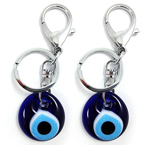 2 Blue Evil Eye Glass Keychain Ring Nazar Hamsa Good Lucky Charm Amulet Gift New - Evil Charm Eyeglass