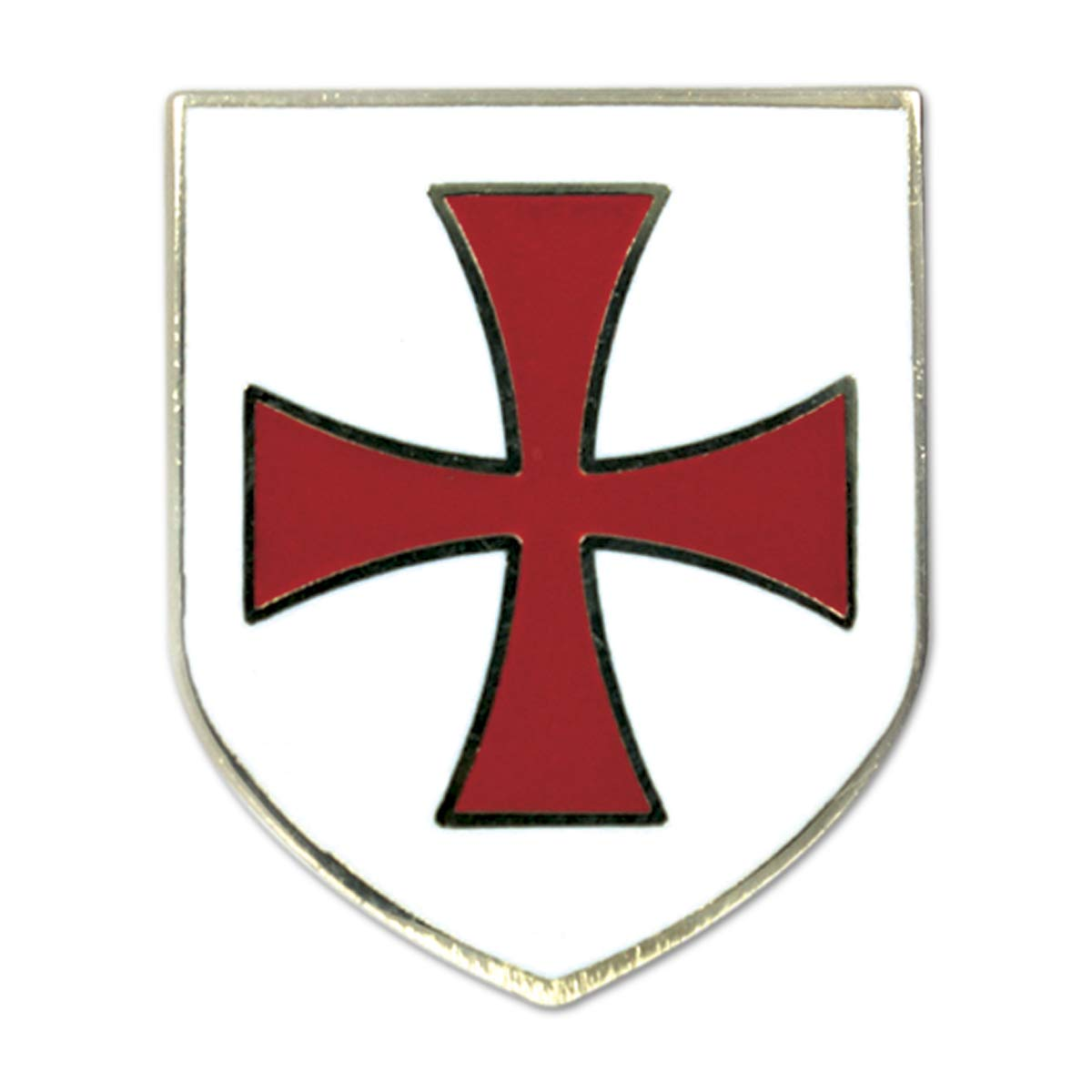 Knights Templar Crusader Red Cross White Shield Freemasonic Lapel Pin - 1
