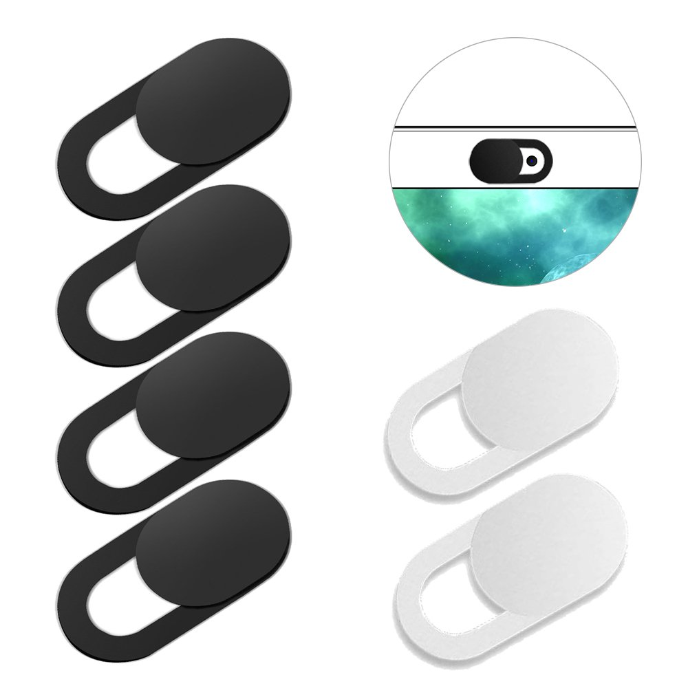 Nicer Webcam Cover Slide for Almost Device with Webcam like Laptop, Macbook pro, iMac, iPad, Fire Tablet, Echo Spot, Echo Show and so on, Protect Privacy, 0.7mm Thin, 6 Pack