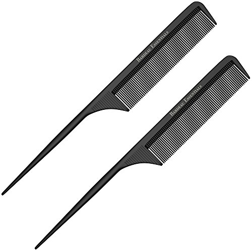 "Styling Comb (2 Pack) Professional 8.8"" Black Carbon Fiber Anti Static Chemical And Heat Resistant Tail Comb For All Hair Types 