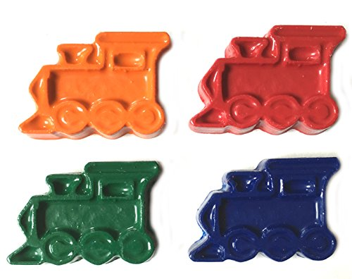 (MinifigFans 48 Train Crayons - Birthday Party Favors - 12 Sets of 4 Crayons - Made in The)