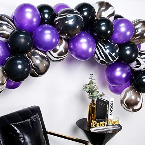 Amazon.com: PartyWoo globos negros y morados, 40 globos ...