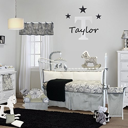 Cotton Tale Designs 100% Cotton Made in The USA Black, Gray/Grey, Cream Paisley & Polka Dots Taylor 4 Piece Nursery Crib Bedding Set - Baby Shower Gift - Gender Neutral Unisex Boy & Girl