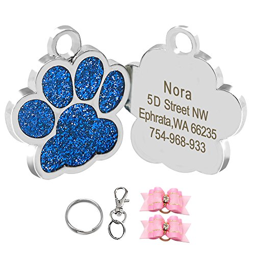 - Didog Glitter Paw Print Pet ID Tags for Small Dogs and Cats,Personalized Egraving