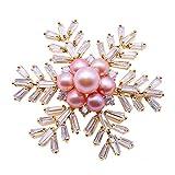 JYX Snowflake Freshwater Pearl Brooches Pins
