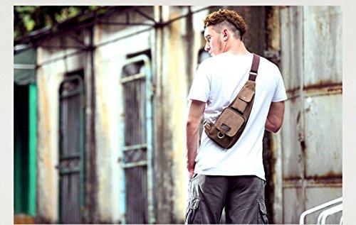 tfxwerws multifunción lienzo Pecho Bolsa triángulo bolsa Messenger Bags (café)