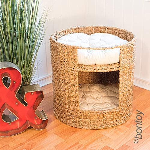Bontoy - Cesta Redonda para Gato con Cueva para Gatos, de Algas, 50 cm: Amazon.es: Productos para mascotas