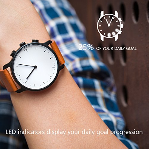 Nevo Hybrid Smart Watch for Android or IOS Phone,Black Case, Brown Strap by Nevo (Image #3)