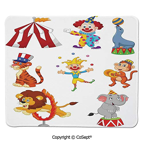 Ergonomic Mouse pad,Cartoon Collection of Cute Circus Theme Artwork Wild Animals Performer,for Computer,Laptop,Home,Office & Travel(15.74