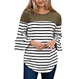 Ulanda Fashion Women Striped Splice 3/4 Flare Sleeve Shirts Sexy Blouse Casual Top