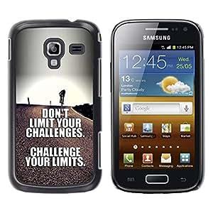 TopCaseStore / la caja del caucho duro de la cubierta de protección de la piel - Limits Inspirational Text - Samsung Galaxy Ace 2 I8160 Ace II X S7560M