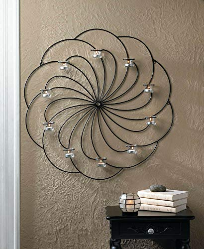 - Circular Pinwheel Candle Holder Wall Sconce Decor New~10017177 Decorative Centerpieces for Living Dinning Room Table Decoration, Wedding Gifts