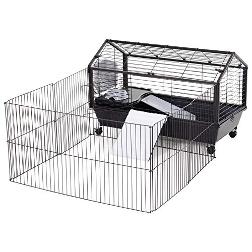 PawHut Rolling Metal Rabbit, Guinea Pig, or Small Animal Hutch Cage with Main House and Run, 35″ L