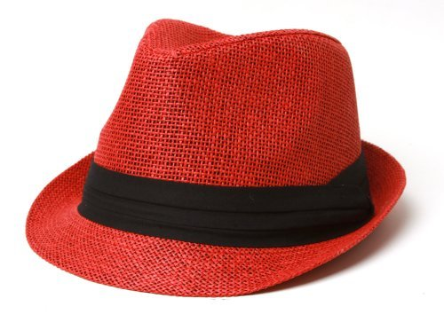 The Hatter Co. Tweed Classic Cuban Style Fedora Fashion Cap Hat, Red