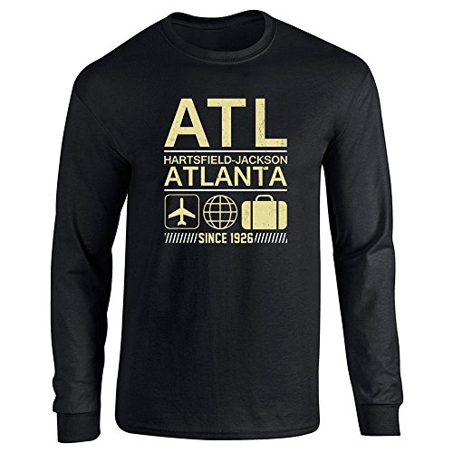 Pop Threads ATL Atlanta Airport Code Since 1926 Travel Black L Long Sleeve T-Shirt