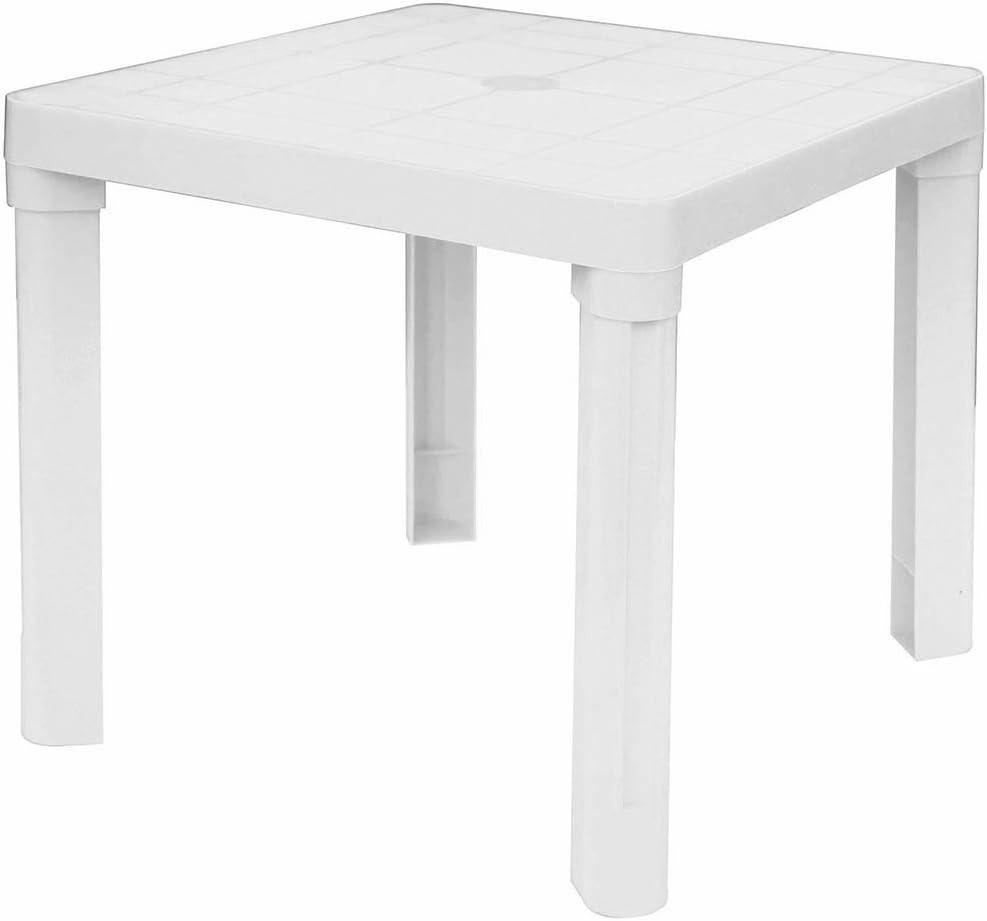 Mesa baja blanca de plástico para interior y exterior, jardín, piscina: Amazon.es: Jardín