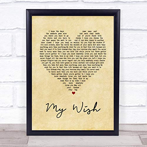 Rascal Flatts My Wish Vintage Heart Song Lyric Print from The Card Zoo