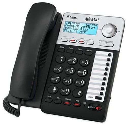 AT&T ML17929 2-Line Corded Telephone, Black (Land Line Flip Phone)