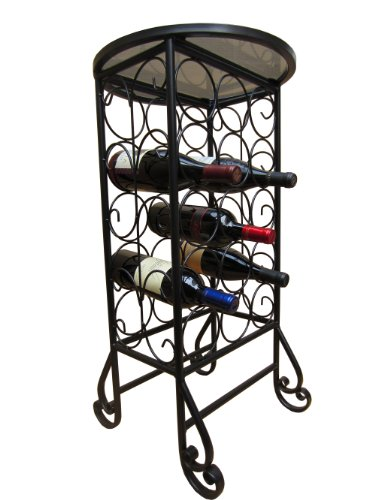 PTC Home & Garden 15-Bottle Wine Rack with Round Glass Table Top by PTC