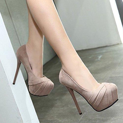 Escarpins Abricot Talons Femmes Profonde Chaussures Aiguille 1 Pompes Peu Xianshu Bouche Plateau Hauts 6CwvcROq4