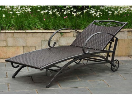 Valencia Resin Wicker/Steel Multi Position Single Chaise Lounge (Lounge Chaise Resin Wicker)