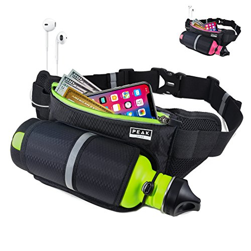 Peak Gear Water Bottle Belt - The Convenient Way to Stay Active - Slim Fit Sports Fanny Pack for Running, Jogging, Hiking or Walking - Fits Most Drink Bottles
