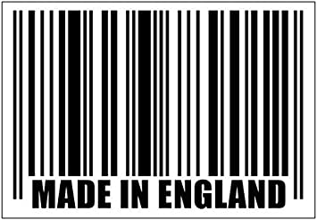 Made In England Barcode Car Or Laptop Decal Vinyl Sticker Colour Choice