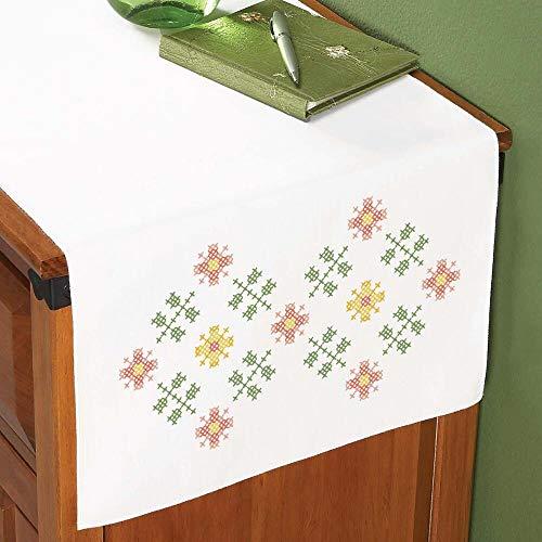 (Herrschners® Floral Trellis Dresser Scarf Stamped Cross-Stitch )
