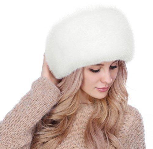 Lovful Winter Women Faux Fur Russian Cossack Style Hat Winter Wrap Hat,White