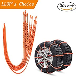Upgrade Reusable Tire Chain, LLOP Portable Anti-skid Emergency Traction Aid Anti-slip Chain Vehicle Snow Chains Ice & Snow Traction Cleats for Bad Weather Tyre Chains Car Belting Straps 20PCS (20)