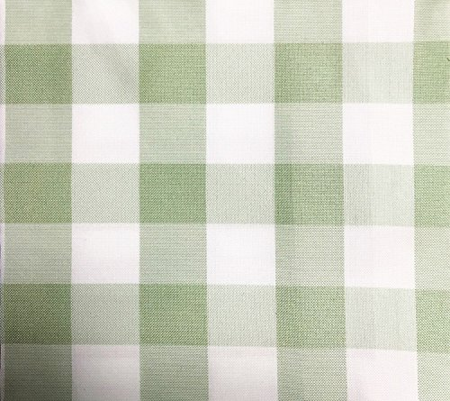 GFCC Round Check Polyester Tablecloth,Grass Green and White, -