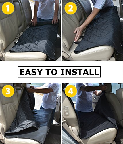 Dog Hammock Waterproof Pet Car RearBack Seat Cover Hammock And Standard Quilted Triple Layered With Seat Belt Slots Black