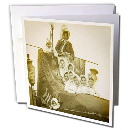 Scenes from the Past Magic Lantern - Vintage Old Mother Hubbard and Children in Carnival Shoe 1901 Sepia - 6 Greeting Cards with envelopes (gc_245914_1)