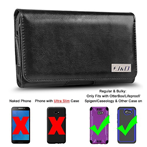 J&D Holster Compatible for Alcatel A30 Holster with Belt Clip, PU Leather Holster Pouch and ID Wallet Case for Alcatel A30 Case (Only Fits with Bulky Case On) - Black