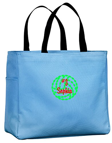 Personalized Embroidered Volleyball Sport Essential Tote Bag (Carolina Blue)