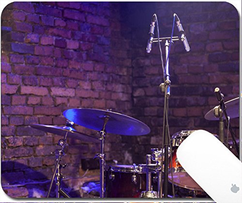 Luxlady Gaming Mousepad 9.25in X 7.25in IMAGE: 24404769 Drum Kit and Microphone on a stage - Concert Stage Cymbals