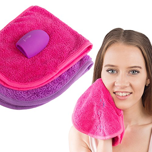 Make-up-Entferner-Tuch (2er Pack) mit KOSTENLOSEM Make-up Pinsel-Reiniger. Entfernt Make-up für eine saubere klare Haut. Gesichtsreinigungstücher. Natürlich & einfach zu verwenden - Geschenkidee